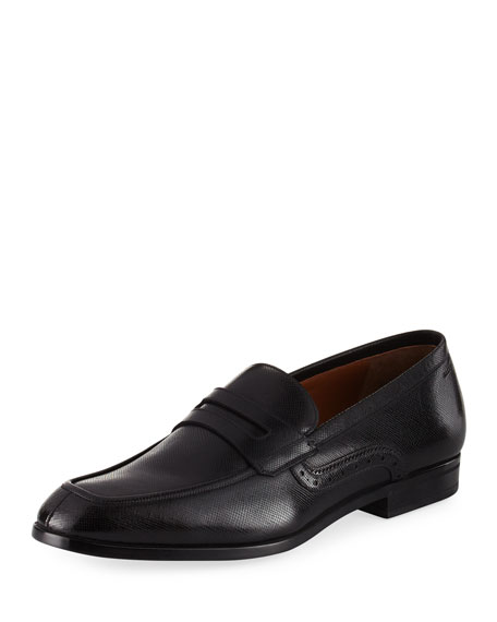 Bally Lauto Textured Leather Penny Loafer, Black