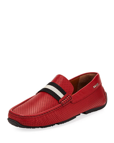 Pearce Perforated Faux-Leather Driver, Red