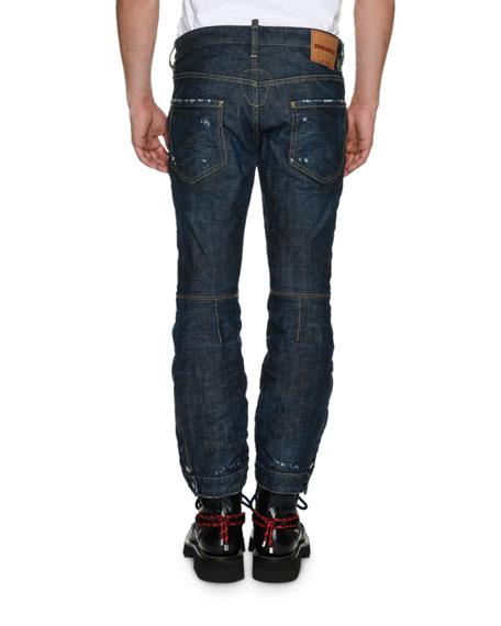 Biker Ski Distressed Straight-Leg Jeans