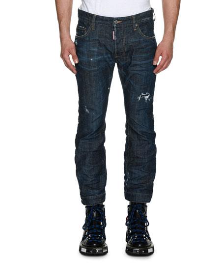 Dsquared2 Biker Ski Distressed Straight-Leg Jeans