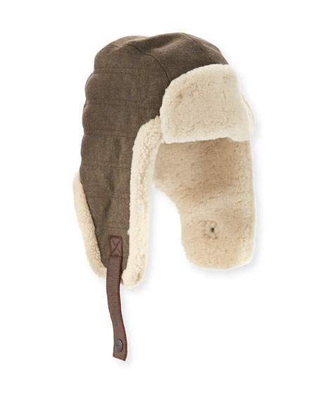 Men's Shearling-Trim Hat & Gloves Gift Set