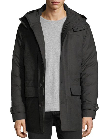 Ermenegildo Zegna Wool Flap-Pocket Coat w/ Removable Hood