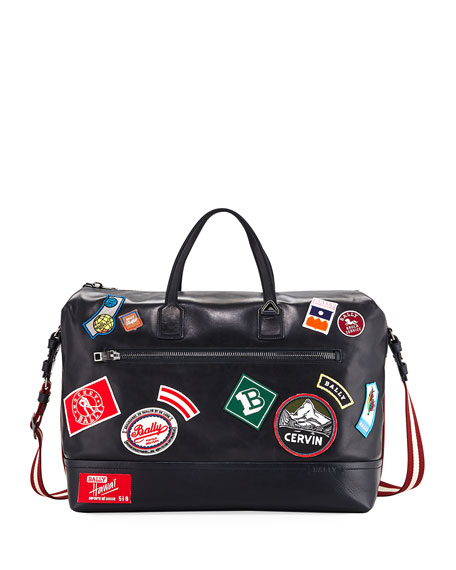Bally Tammi Leather Weekender Bag with Patches