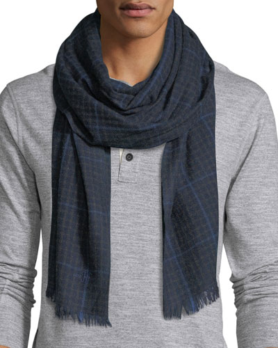 Lightweight Plaid Cashmere Scarf