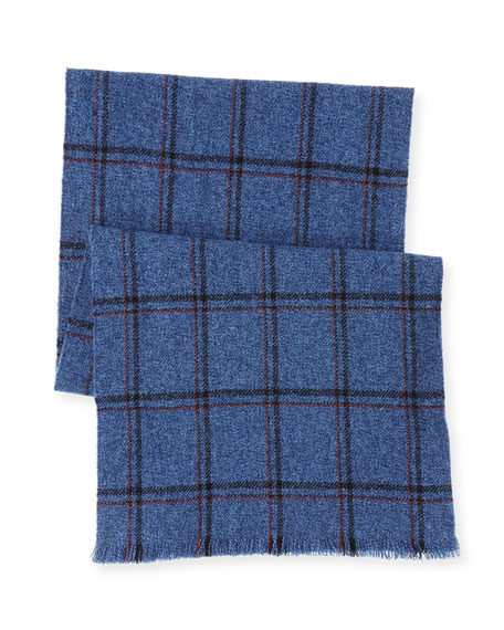 Marled Windowpane Check Cashmere Scarf