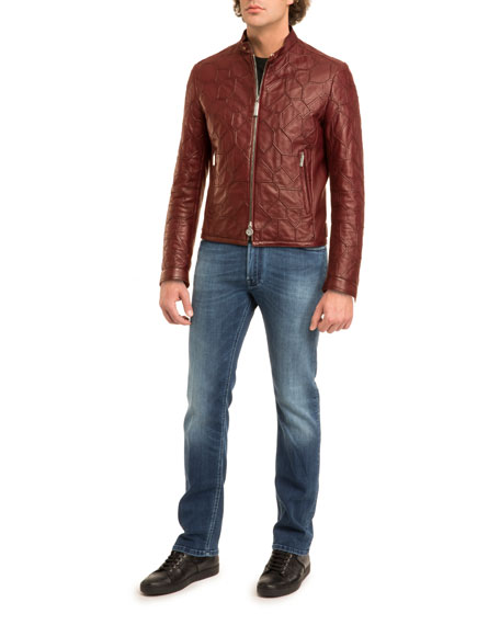 Tiled Calf Leather Jacket