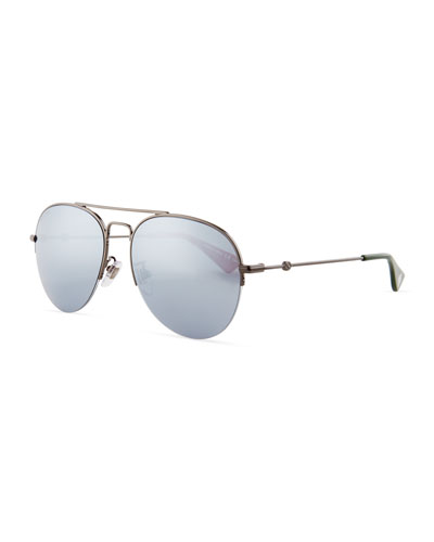 Mirrored Half-Rim Metal Aviator Sunglasses
