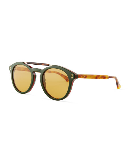 Gucci Vintage Round Acetate Sunglasses, Green