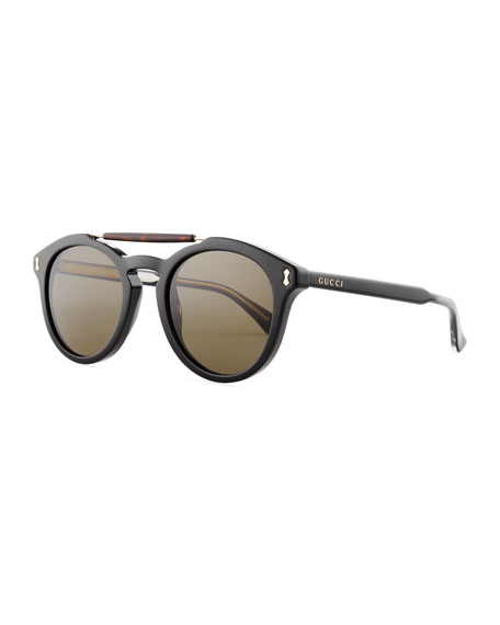 Gucci Vintage Round Acetate Sunglasses, Black