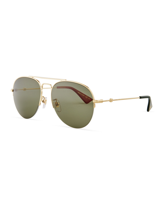 13e99f7fb62 Gucci Half-Rim Metal Aviator Sunglasses