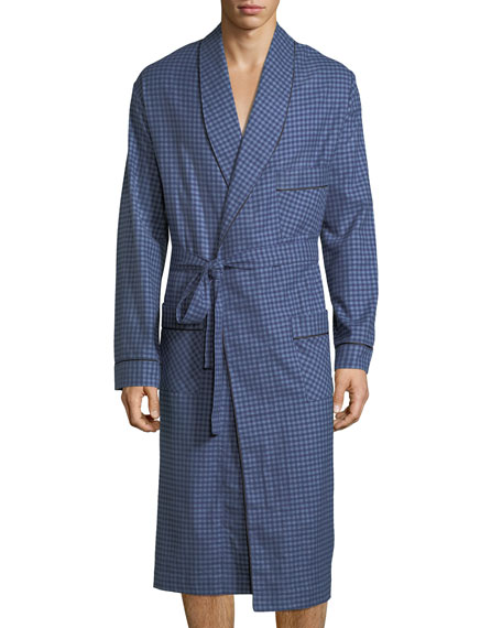Neiman Marcus Brushed Flannel Robe, Navy