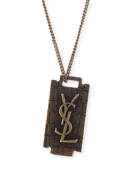 Saint Laurent Men's Monogram Razor Blade Necklace