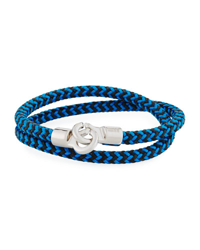Men's Double Tour Braided Wrap Bracelet, Cobalt