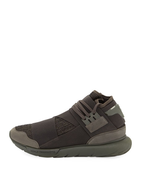 Qasa Men's High-Top Trainer Sneaker, Black/Green