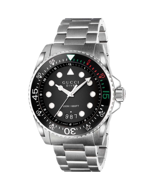 d5c5d7dcf Gucci 45mm Gucci Dive Stainless Steel Bracelet Watch | Neiman Marcus
