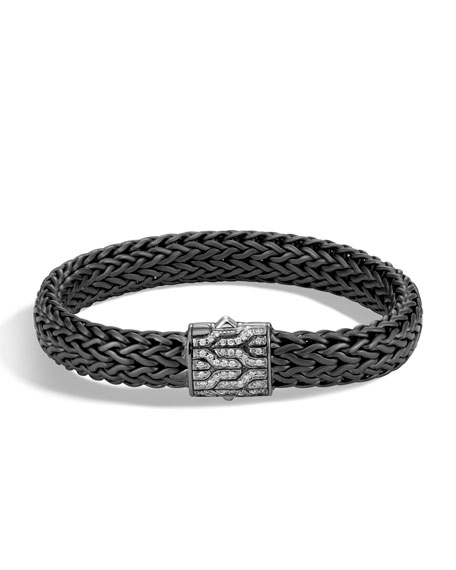 John Hardy Mens Classic Chain Rhodium-Plated Bracelet with Diamonds