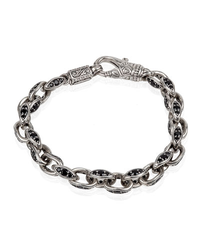 Men's Plato Sterling Silver Link Bracelet with Black Spinel