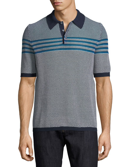 Horizontal-Striped Polo Shirt