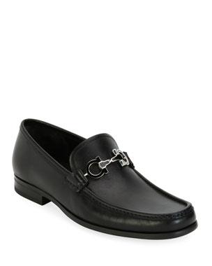 3e041adf1ef3 Salvatore Ferragamo Men's Leather Loafer with Reversible Gancini Ornament