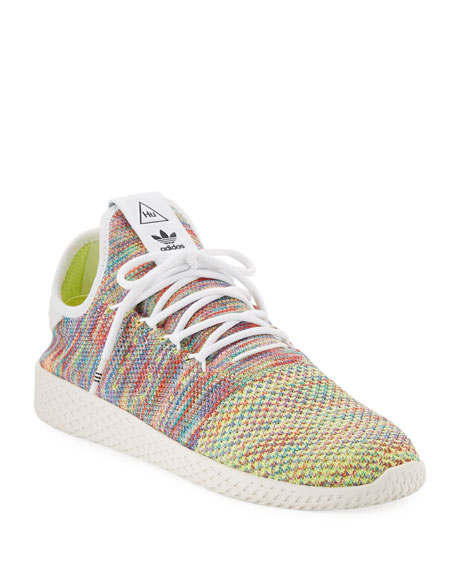 x Pharrell Williams Men's Hu Race Tennis Sneakers, White/Multi