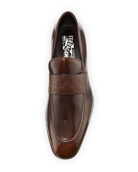 Leather Gancio-Stamped Loafer, Brown