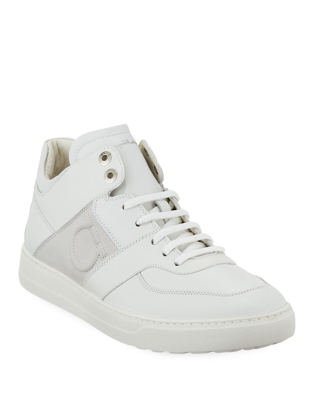 d83d7f526843 Salvatore Ferragamo Men s Leather Mid-Top Sneakers