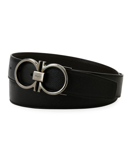 Salvatore Ferragamo Classic Double-Gancio Stamped Leather Belt