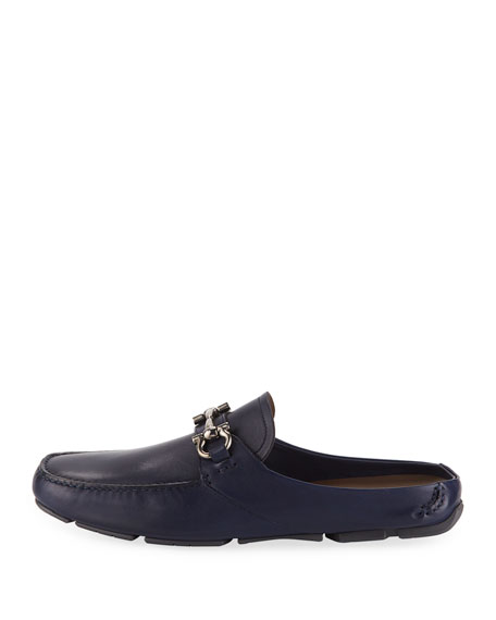 Men's Leather Gancini-Bit Mule Slide, Navy