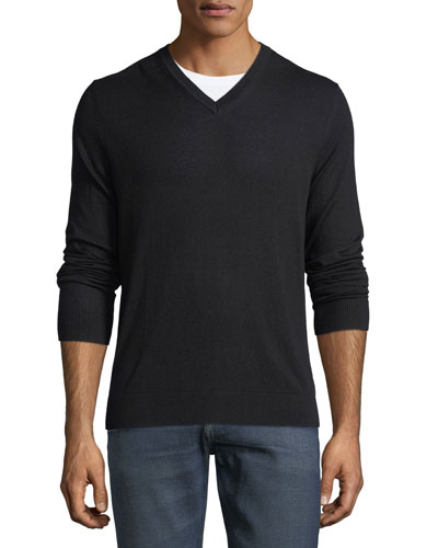 Randolf Cashmere-Cotton Sweater, Black