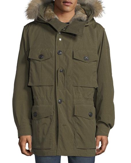 Fur-Lined Parka Coat