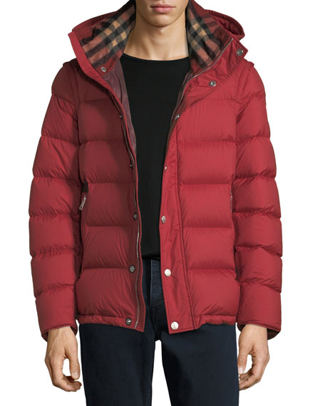 Burberry Hartley Hooded Quilted Jacket, Red