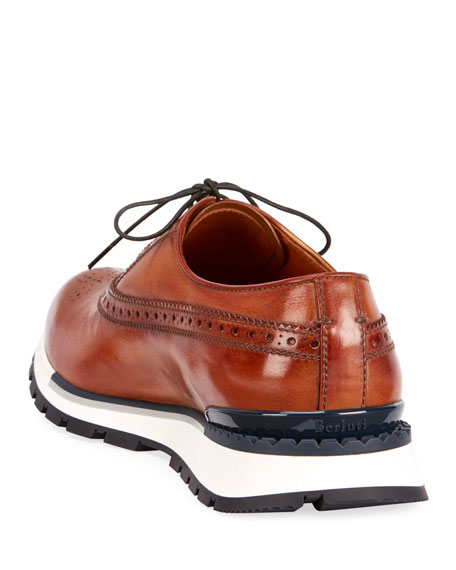 Berluti Men's Venezia Leather Brogue Sneakers