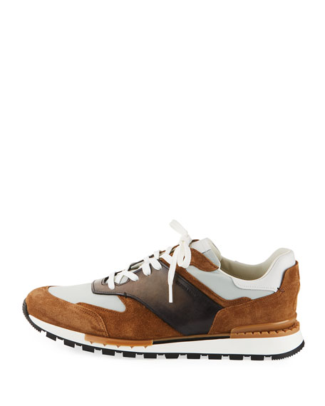 Men's Suede/Leather Low-Top Runner Sneaker