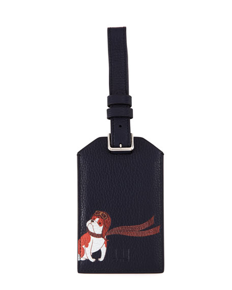 dunhill Boston Bulldog Leather Luggage Tag