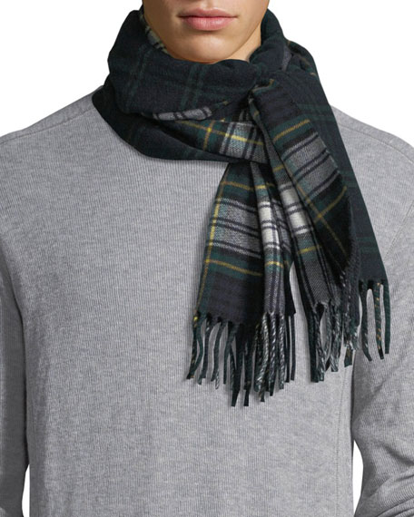 Burberry Men's Wool Vintage Check Scarf, Green