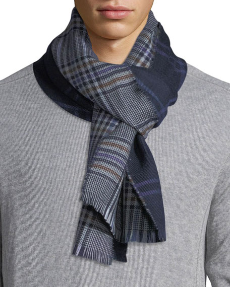 Eton Double-Face Plaid Wool Scarf