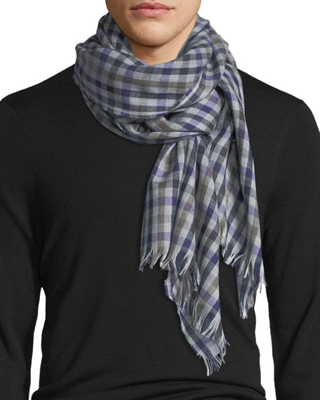 Eton Checked Wool Scarf