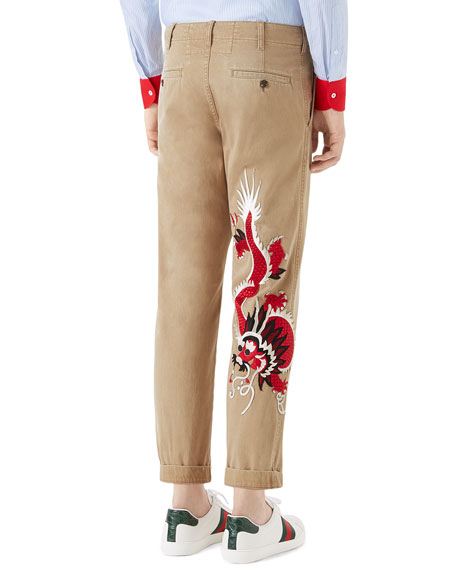 Dragon-Embroidered Chino Pants