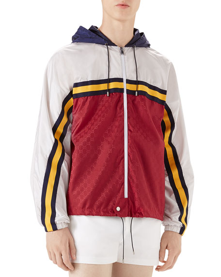 Gucci Colorblock Zip-Front Wind-Resistant Jacket
