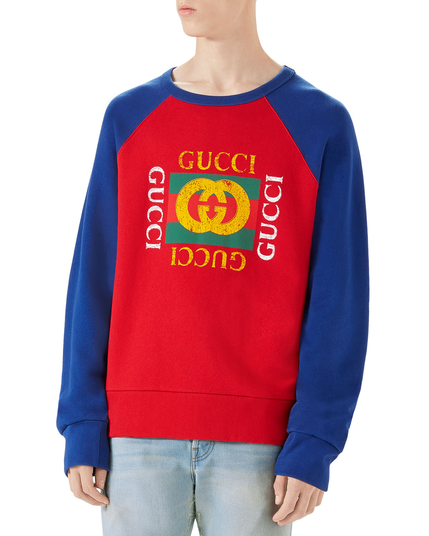 2b02b3ac4991 Gucci Logo-Front Crewneck Sweatshirt   Neiman Marcus