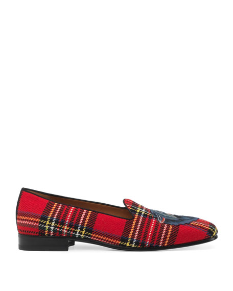 Tartan Slipper with Wolf Appliqué