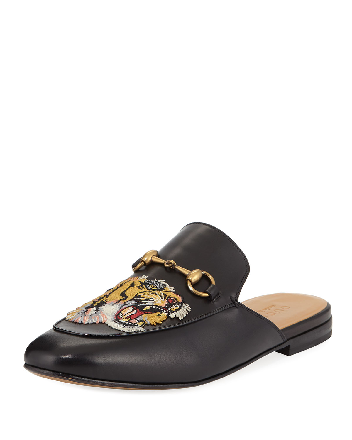 61b8d9055 Gucci Kings Tiger Leather Mule | Neiman Marcus