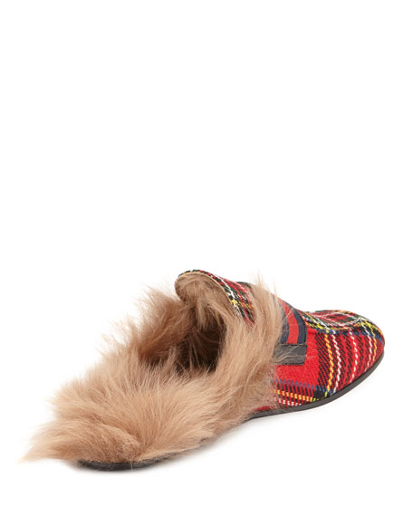 New Princetown Tartan Fur-Lined Slipper with Double G, Red Pattern