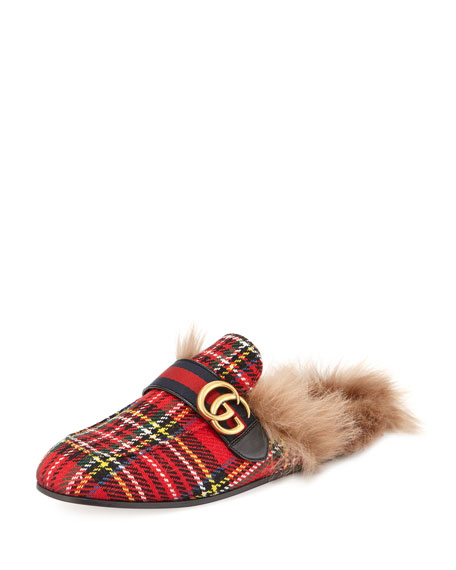 Gucci New Princetown Tartan Fur-Lined Slipper with Double