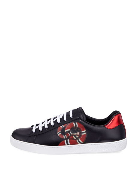 New Ace Snake-Print Leather Low-Top Sneaker