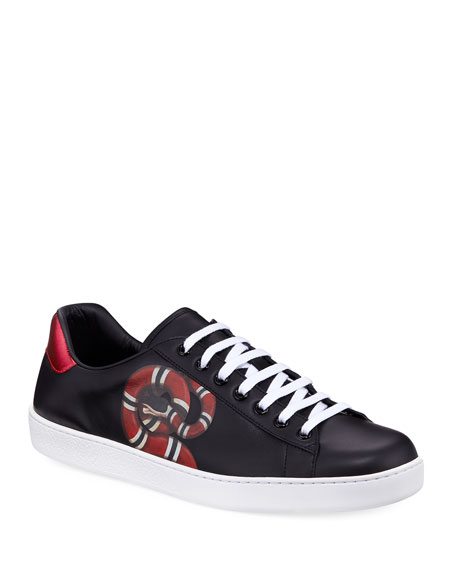 gucci shoes for men black. new ace snake-print leather low-top sneaker gucci shoes for men black