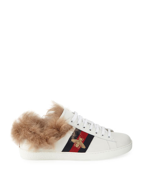 Ace Fur-Lined Leather Low-Top Sneaker