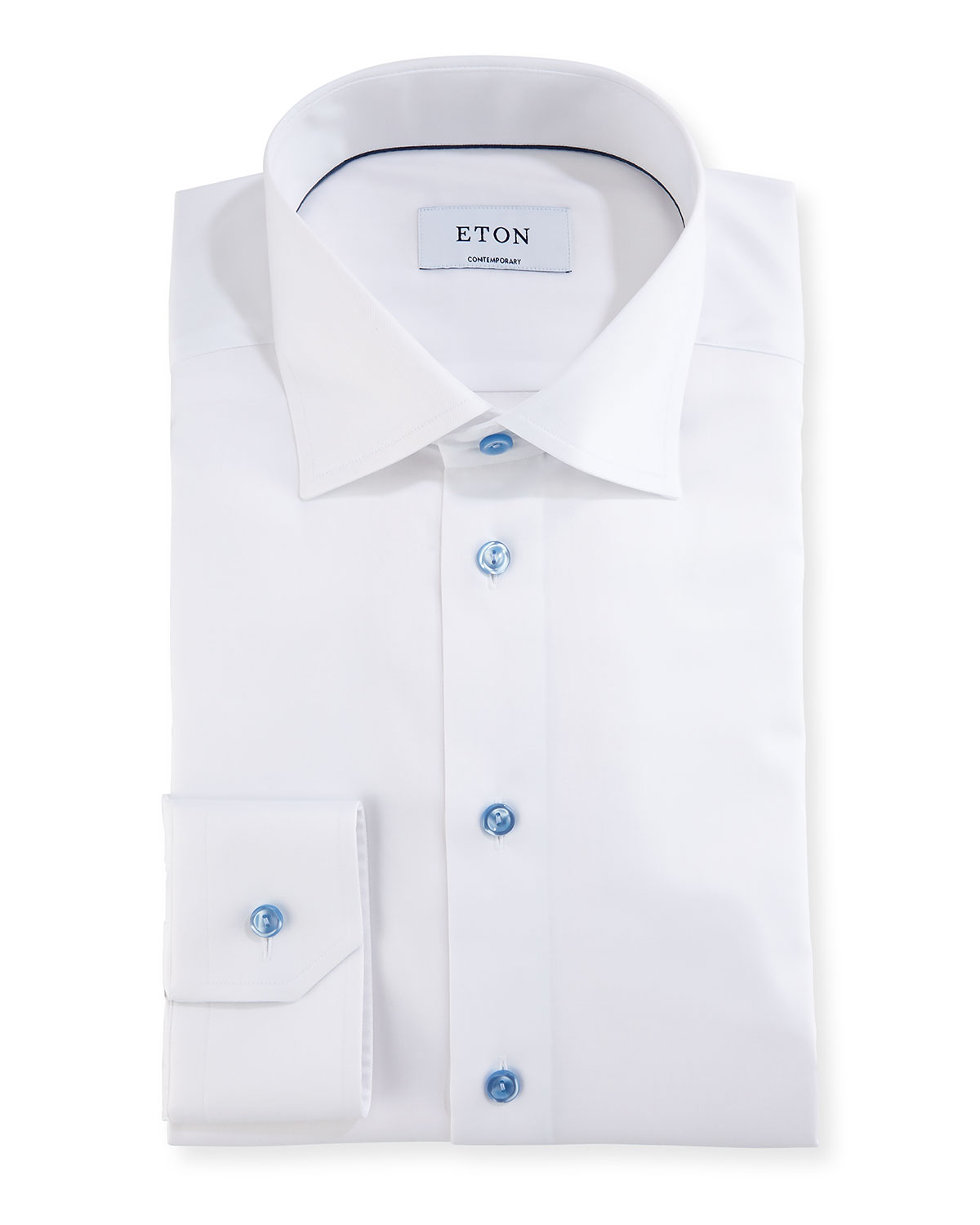31bea4c1b80636 Eton Contemporary Fit Twill Shirt with Blue Buttons | Neiman Marcus