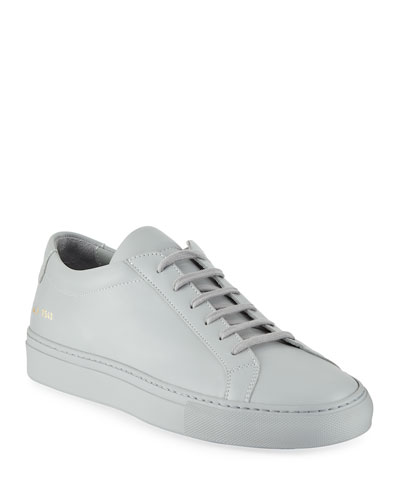 Men's Achilles Leather Low-Top, Gray