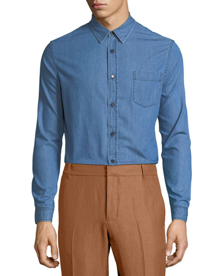 Long-Sleeve Chambray Sport Shirt